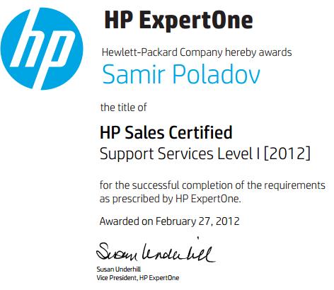 Сертифицированный специалист HP по продажам техники - Уровень 1