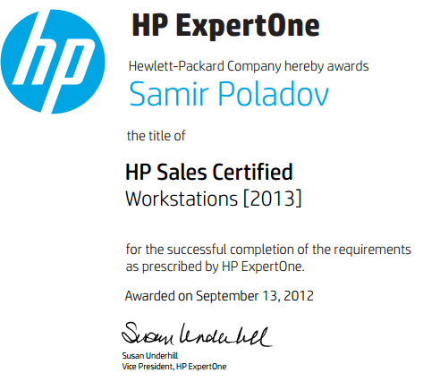 HP Sales Certified – Workstations [2013]