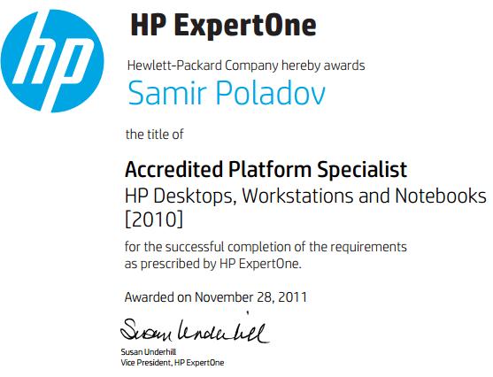 APS – HP Desktops, Workstations and Notebooks [2010]