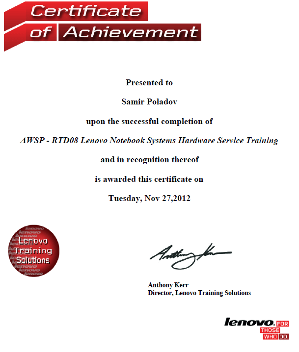 AWSP - RTD08 Lenovo Notebook Systems Hardware Service Training
