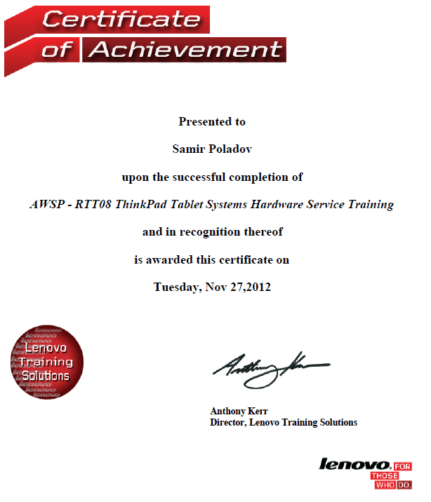 AWSP - RTT08 ThinkPad Tablet Systems Hardware Service Training