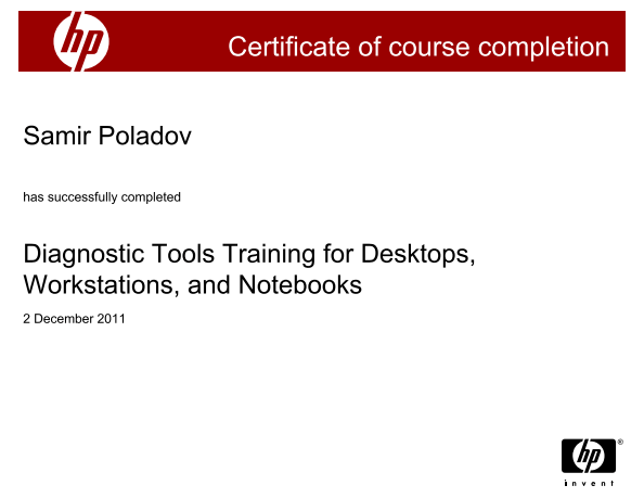 Diagnostic Tools Training for Desktops, Workstations, and Notebooks