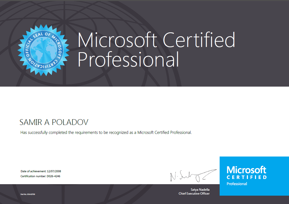 Сертифицированный профессионал Microsoft
